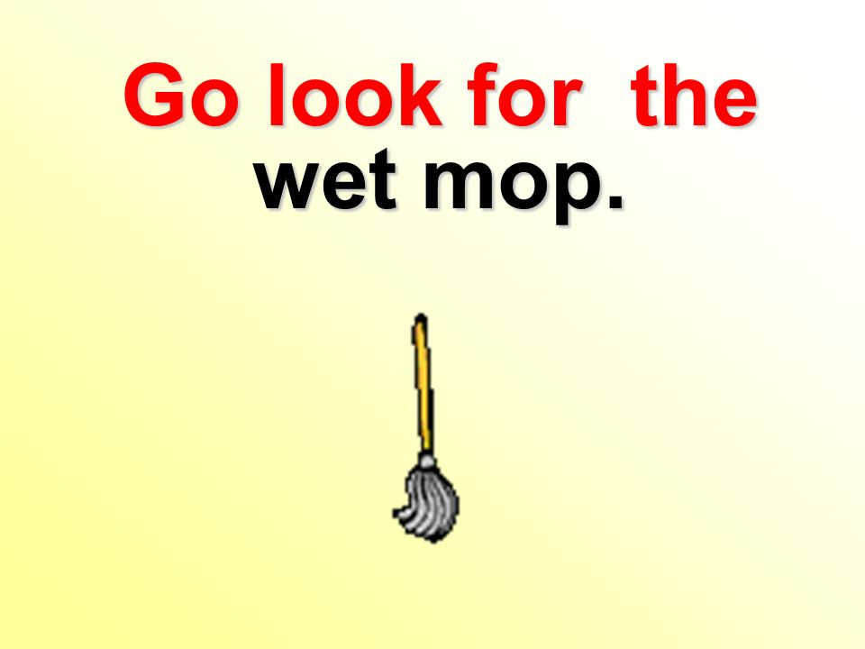 Go look for the wet mop.