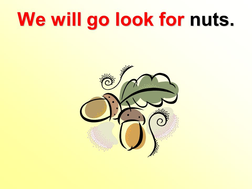 We will go look for nuts.