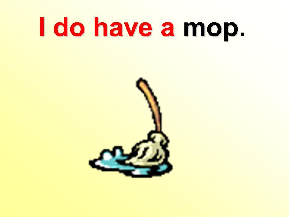 I do havea mop I do have a mop.