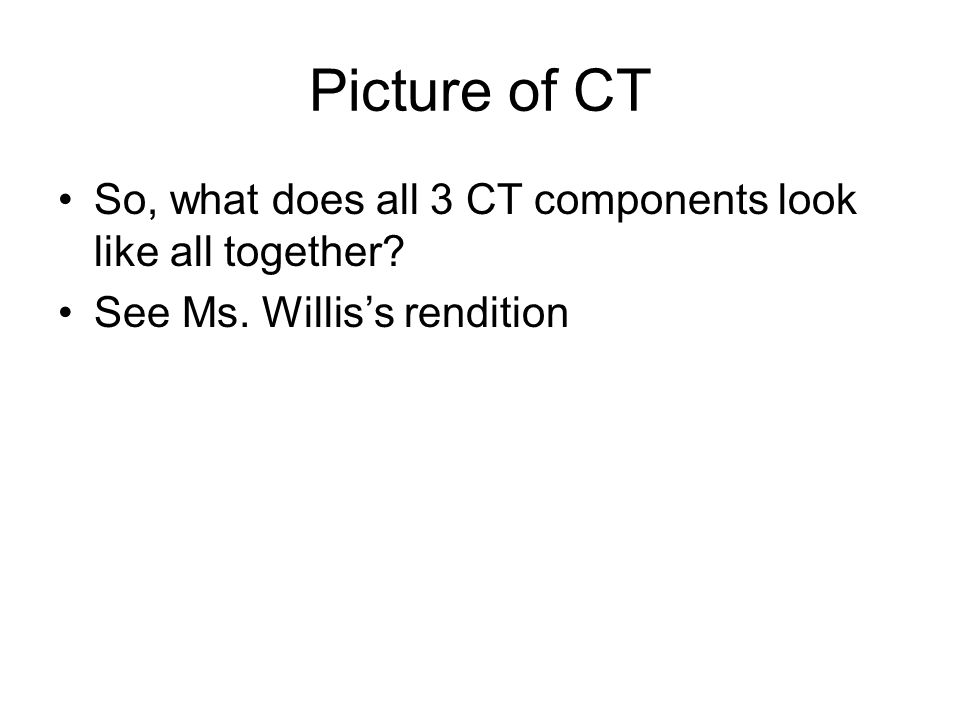 Picture of CT So, what does all 3 CT components look like all together? See Ms. Williss rendition