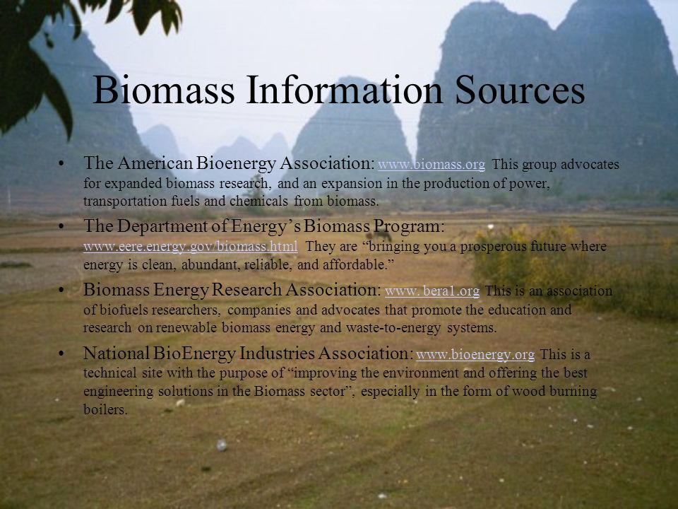 Biomass Information Sources The American Bioenergy Association: www.biomass.org This group advocates for expanded biomass research, and an expansion i