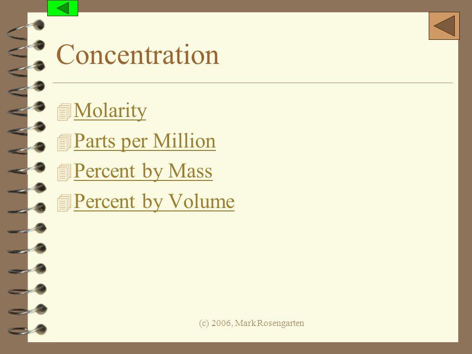(c) 2006, Mark Rosengarten Concentration 4 Molarity Molarity 4 Parts per Million Parts per Million 4 Percent by Mass Percent by Mass 4 Percent by Volu