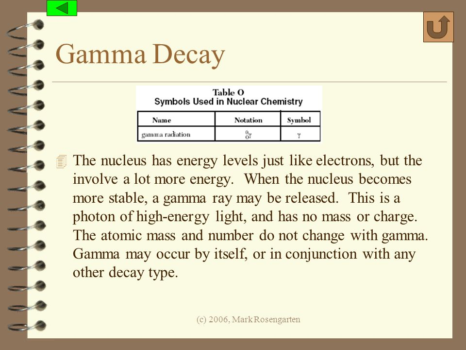 (c) 2006, Mark Rosengarten Gamma Decay 4 The nucleus has energy levels just like electrons, but the involve a lot more energy. When the nucleus become