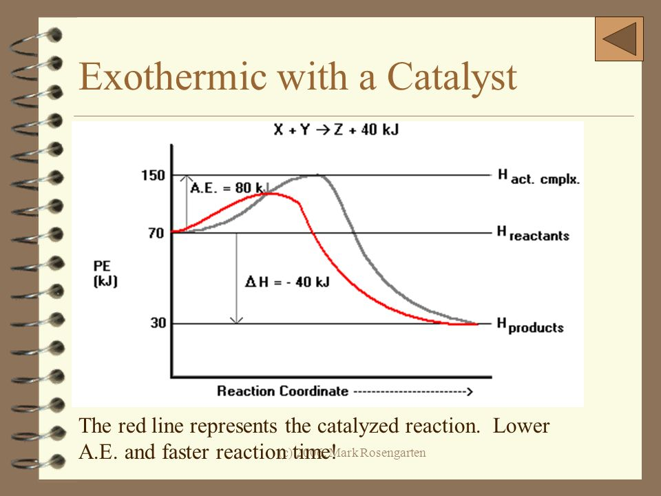 (c) 2006, Mark Rosengarten Exothermic with a Catalyst The red line represents the catalyzed reaction. Lower A.E. and faster reaction time!