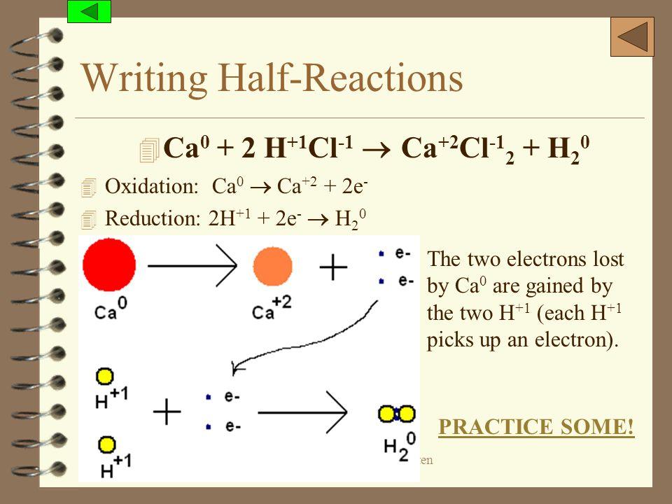 (c) 2006, Mark Rosengarten Writing Half-Reactions 4 Ca 0 + 2 H +1 Cl -1 Ca +2 Cl -1 2 + H 2 0 4 Oxidation: Ca 0 Ca +2 + 2e - 4 Reduction: 2H +1 + 2e -