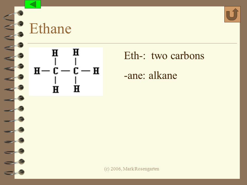 (c) 2006, Mark Rosengarten Ethane Eth-: two carbons -ane: alkane