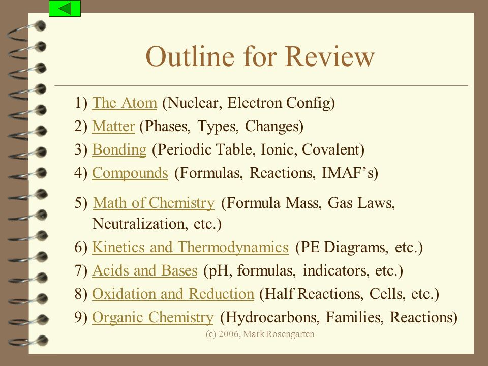 (c) 2006, Mark Rosengarten Outline for Review 1) The Atom (Nuclear, Electron Config)The Atom 2) Matter (Phases, Types, Changes)Matter 3) Bonding (Peri