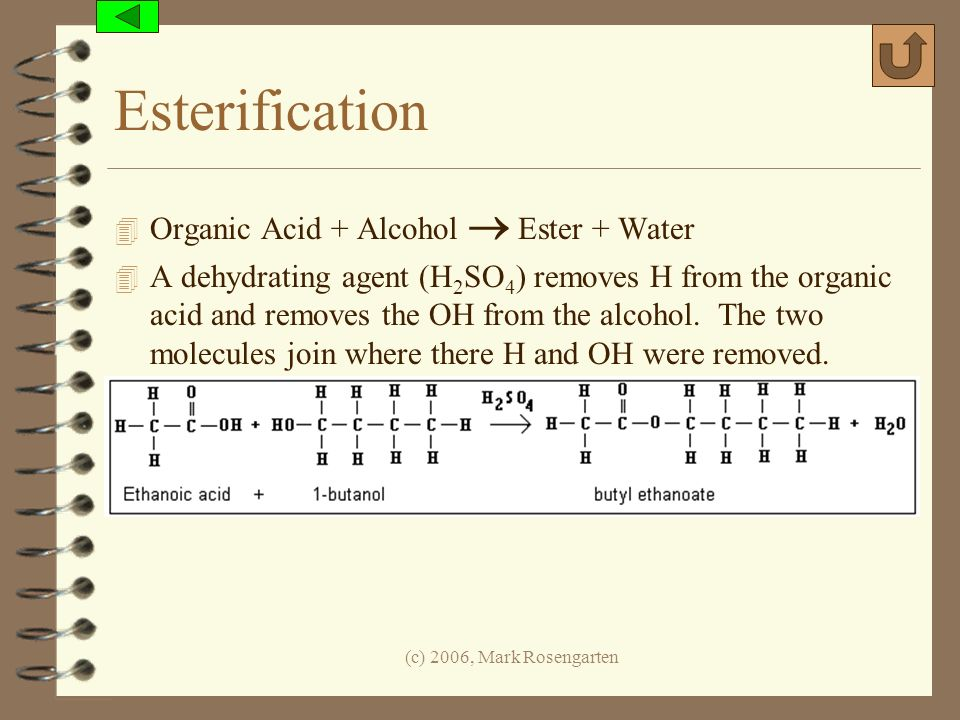 (c) 2006, Mark Rosengarten Esterification 4 Organic Acid + Alcohol Ester + Water 4 A dehydrating agent (H 2 SO 4 ) removes H from the organic acid and