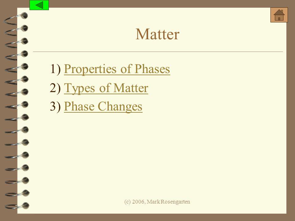 (c) 2006, Mark Rosengarten Matter 1) Properties of PhasesProperties of Phases 2) Types of MatterTypes of Matter 3) Phase ChangesPhase Changes