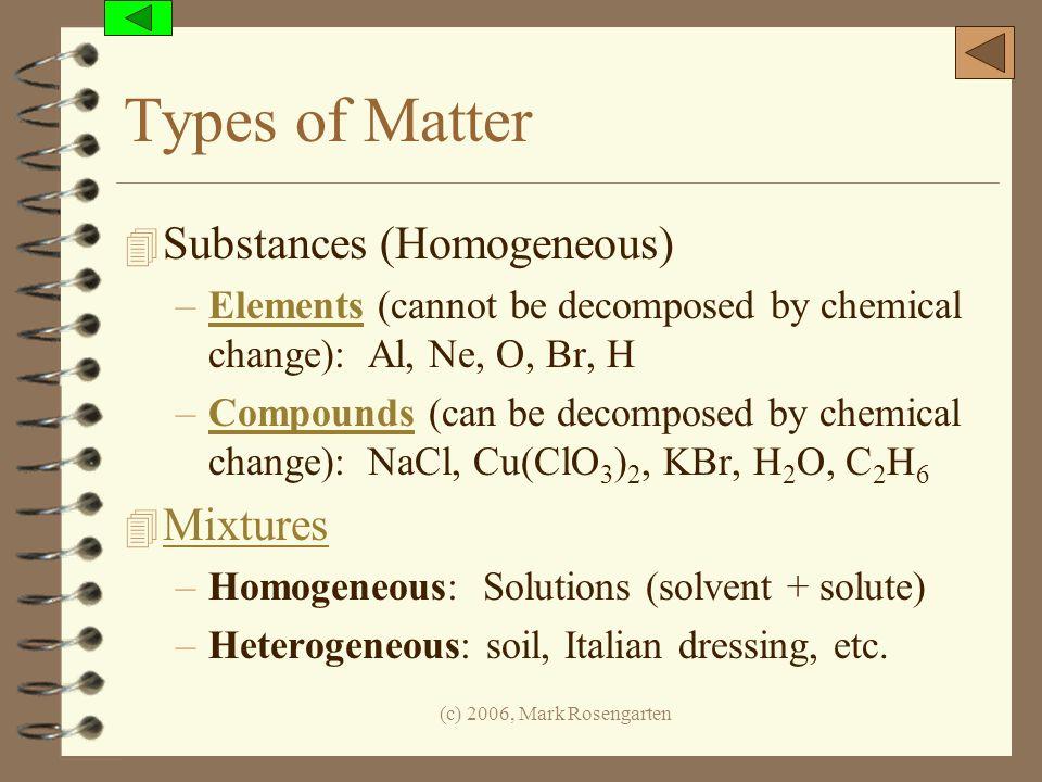 (c) 2006, Mark Rosengarten Types of Matter 4 Substances (Homogeneous) –Elements (cannot be decomposed by chemical change): Al, Ne, O, Br, HElements –C