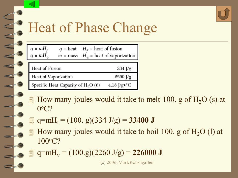 (c) 2006, Mark Rosengarten Heat of Phase Change 4 How many joules would it take to melt 100. g of H 2 O (s) at 0 o C? 4 q=mH f = (100. g)(334 J/g) = 3