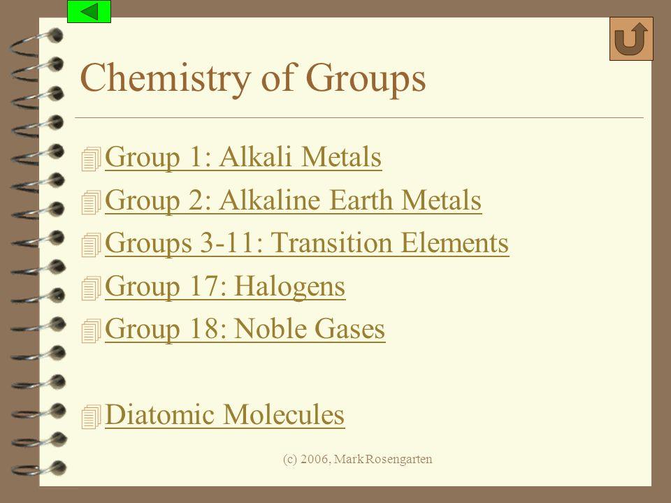 (c) 2006, Mark Rosengarten Chemistry of Groups 4 Group 1: Alkali Metals Group 1: Alkali Metals 4 Group 2: Alkaline Earth Metals Group 2: Alkaline Eart