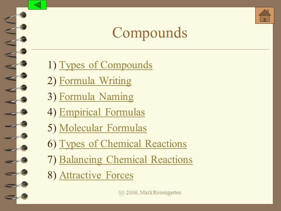 (c) 2006, Mark Rosengarten Compounds 1) Types of CompoundsTypes of Compounds 2) Formula WritingFormula Writing 3) Formula NamingFormula Naming 4) Empi