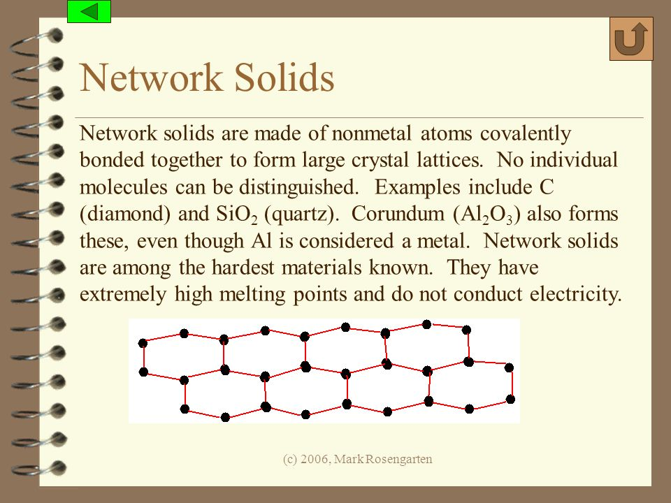 (c) 2006, Mark Rosengarten Network Solids Network solids are made of nonmetal atoms covalently bonded together to form large crystal lattices. No indi