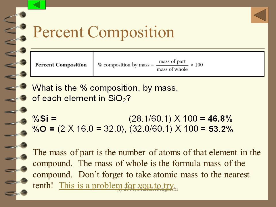 (c) 2006, Mark Rosengarten Percent Composition The mass of part is the number of atoms of that element in the compound. The mass of whole is the formu