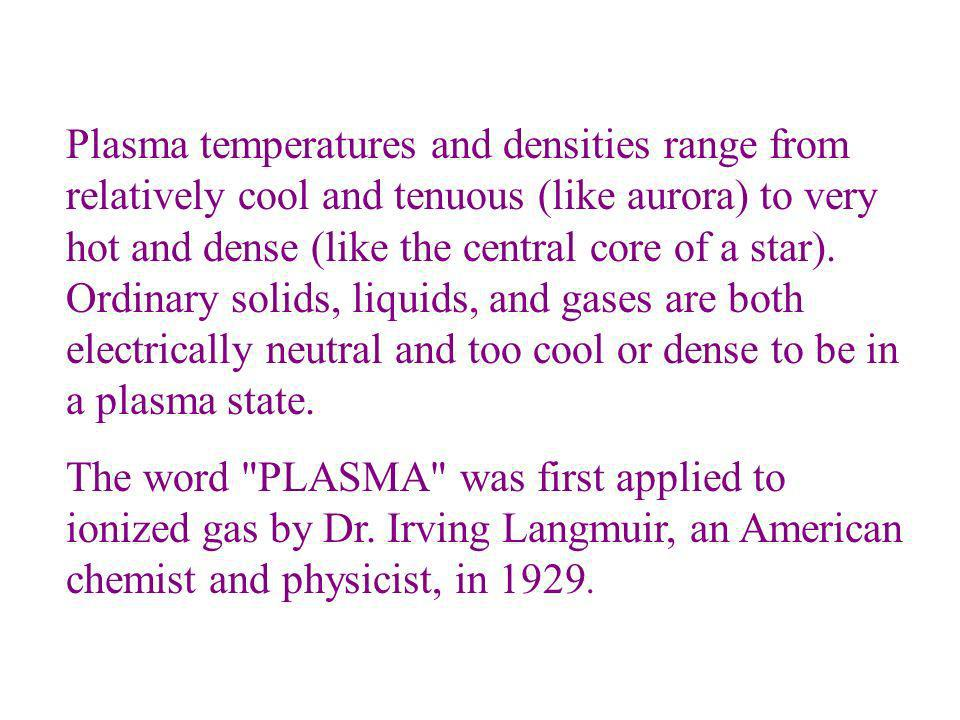 Plasma temperatures and densities range from relatively cool and tenuous (like aurora) to very hot and dense (like the central core of a star). Ordina