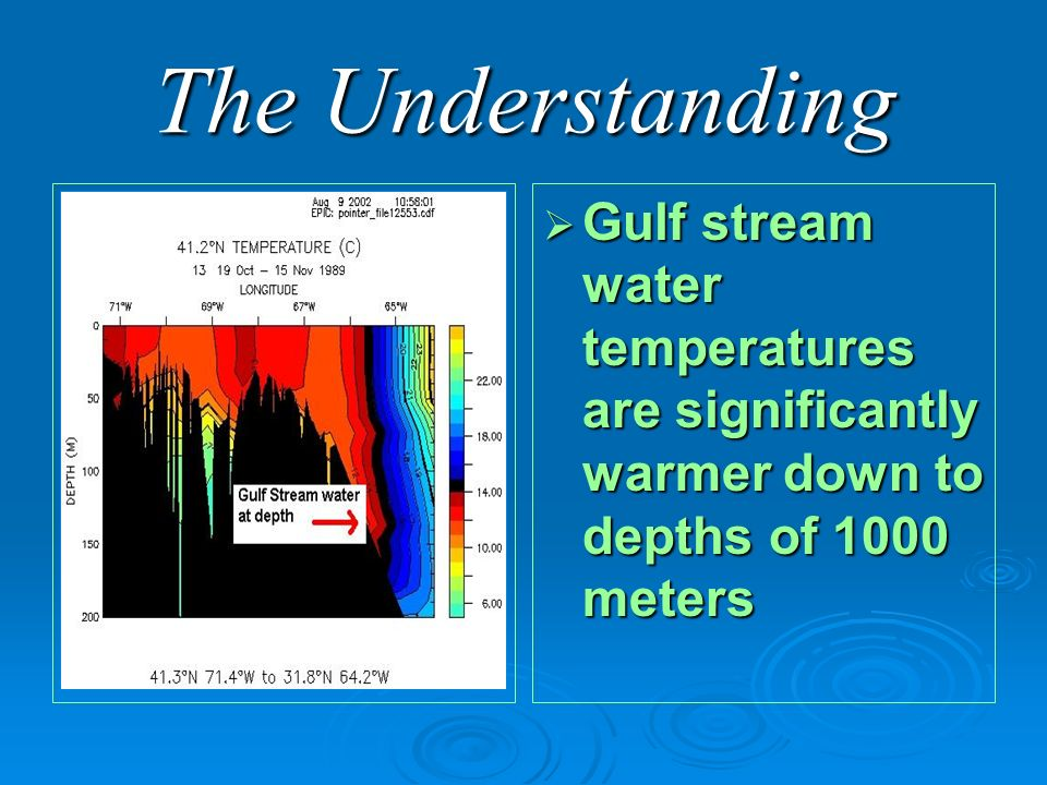 The Understanding Gulf stream water temperatures are significantly warmer down to depths of 1000 meters Gulf stream water temperatures are significantly warmer down to depths of 1000 meters