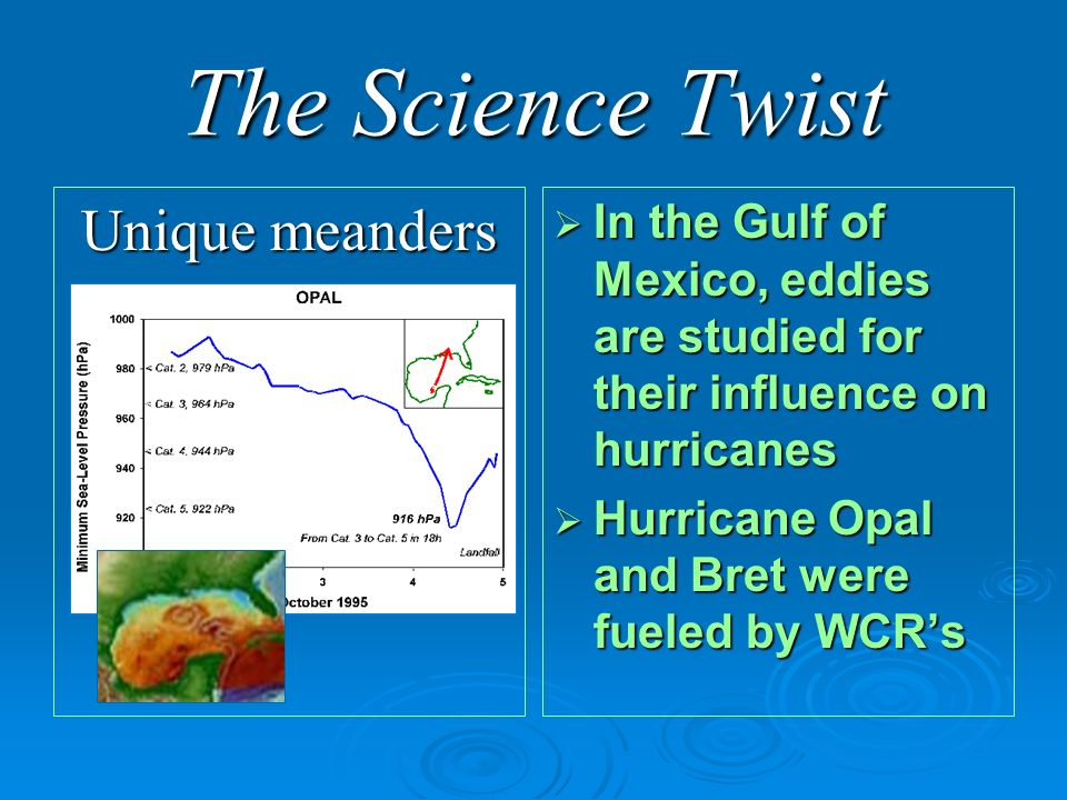 The Science Twist Unique meanders In the Gulf of Mexico, eddies are studied for their influence on hurricanes In the Gulf of Mexico, eddies are studied for their influence on hurricanes Hurricane Opal and Bret were fueled by WCRs Hurricane Opal and Bret were fueled by WCRs
