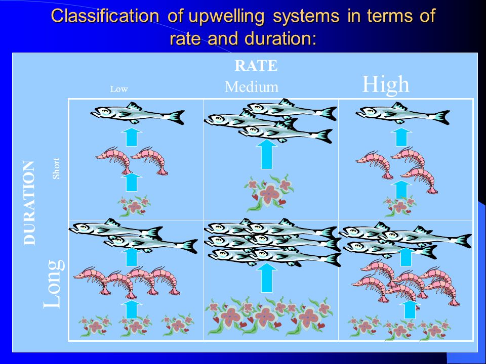 Classification of upwelling systems in terms of rate and duration: After Thurman, H.V. (1994) Low Medium High RATE DURATION Long Short