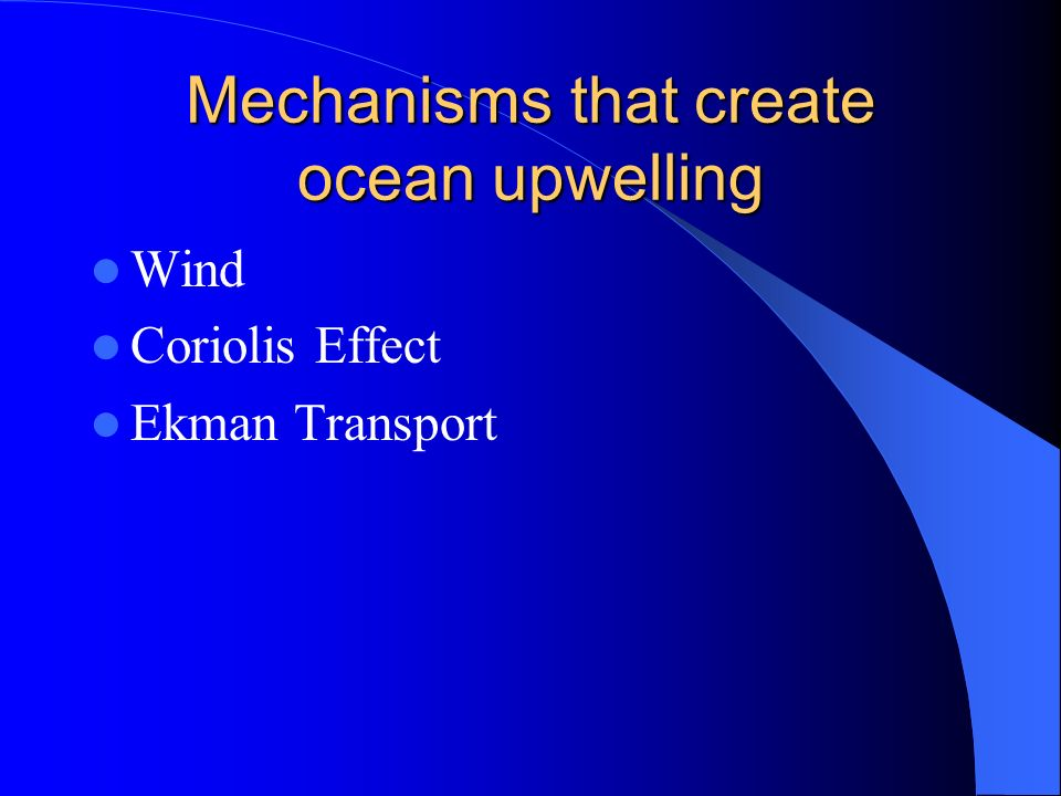 Mechanisms that create ocean upwelling Wind Coriolis Effect Ekman Transport