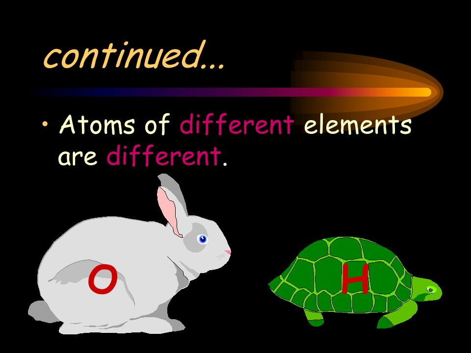 continued... Atoms of different elements are different. O H