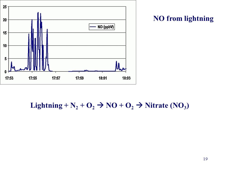 19 NO from lightning Lightning + N 2 + O 2 NO + O 2 Nitrate (NO 3 )