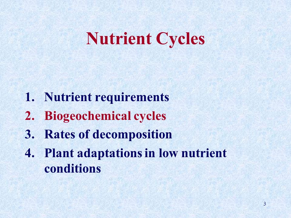 3 Nutrient Cycles 1.Nutrient requirements 2.Biogeochemical cycles 3.Rates of decomposition 4.Plant adaptations in low nutrient conditions