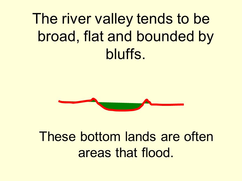 The river valley tends to be broad, flat and bounded by bluffs. These bottom lands are often areas that flood.