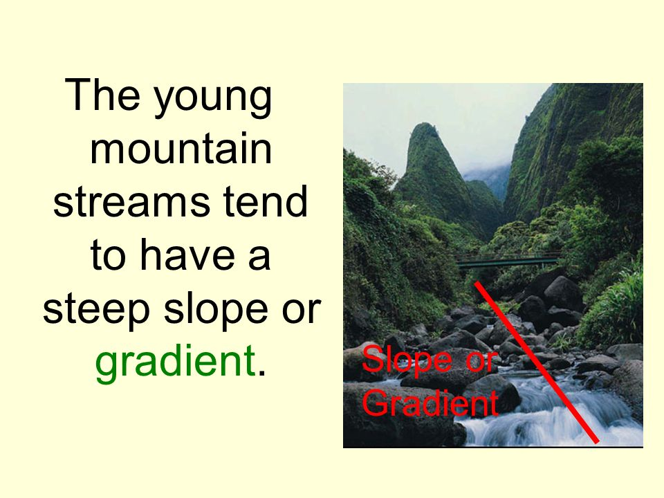 The young mountain streams tend to have a steep slope or gradient. Slope or Gradient