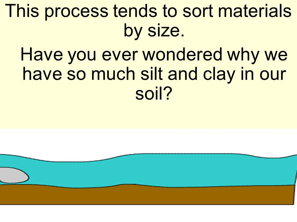 This process tends to sort materials by size. Have you ever wondered why we have so much silt and clay in our soil?
