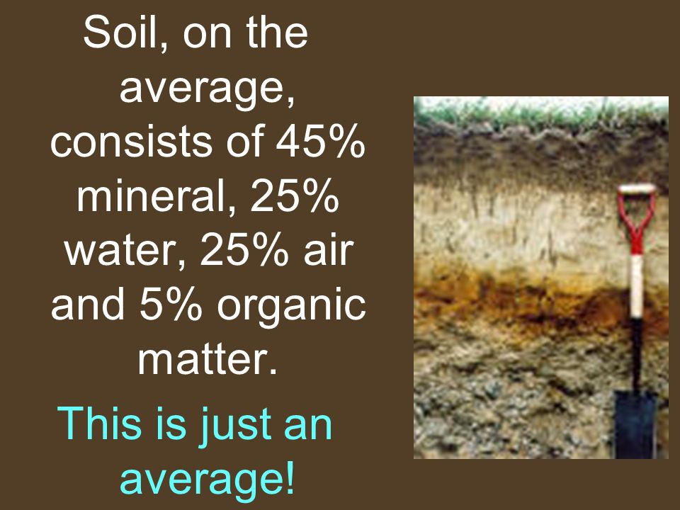 Soil, on the average, consists of 45% mineral, 25% water, 25% air and 5% organic matter. This is just an average!