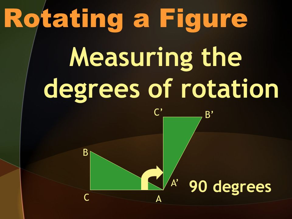 Rotating a Figure Measuring the degrees of rotation 90 degrees A A C C B B