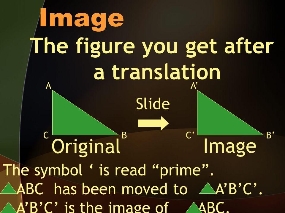 Image The figure you get after a translation Original Image Slide AA BBCC The symbol is read prime.