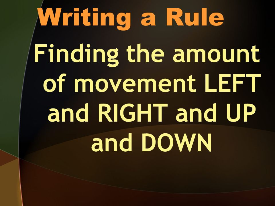 Writing a Rule Finding the amount of movement LEFT and RIGHT and UP and DOWN