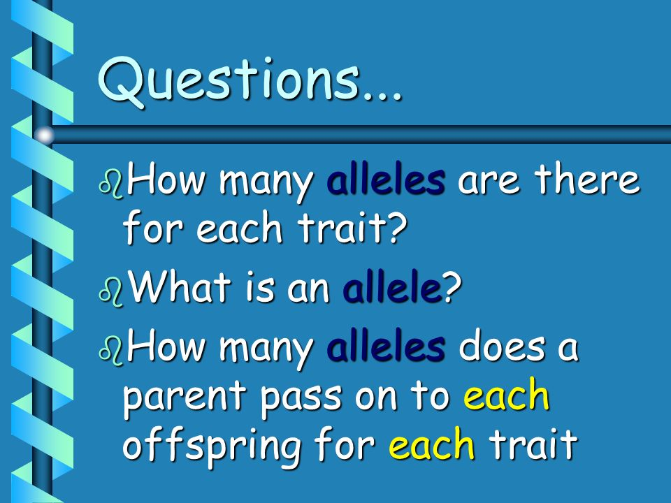 Questions... b How many alleles are there for each trait? b What is an allele? b How many alleles does a parent pass on to each offspring for each tra