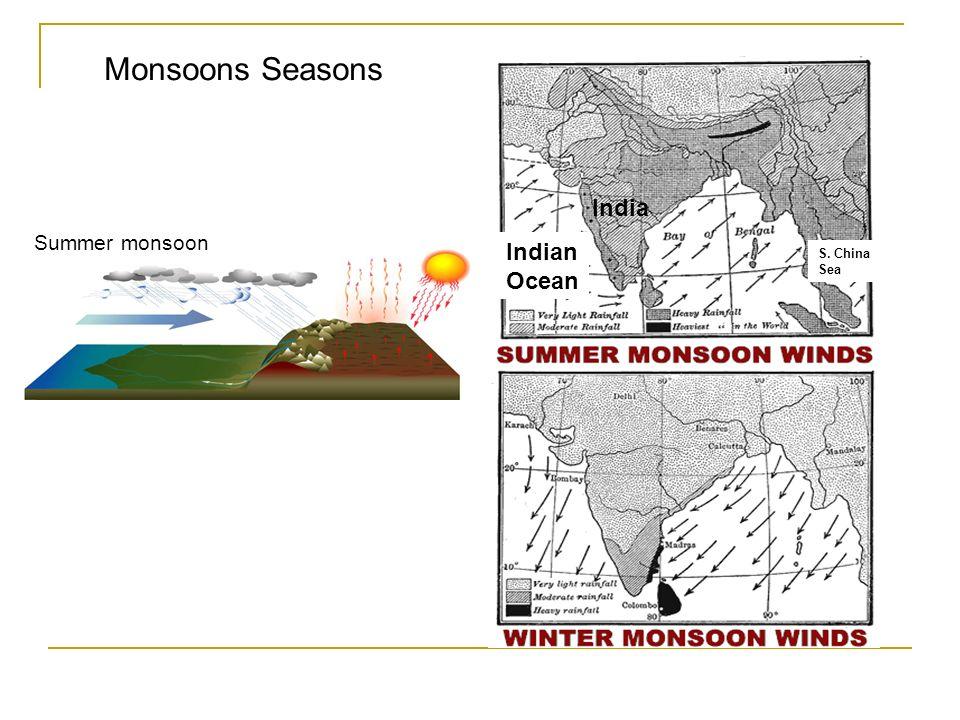 Monsoons Seasons Summer monsoon India Indian Ocean S. China Sea