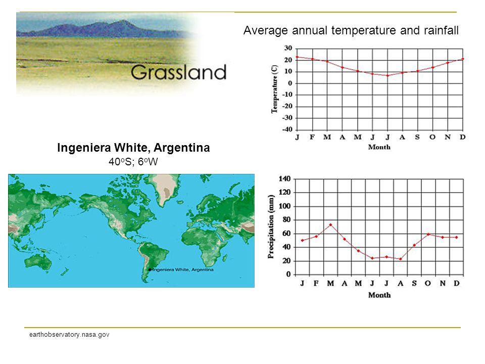 Ingeniera White, Argentina 40 o S; 6 o W earthobservatory.nasa.gov Average annual temperature and rainfall