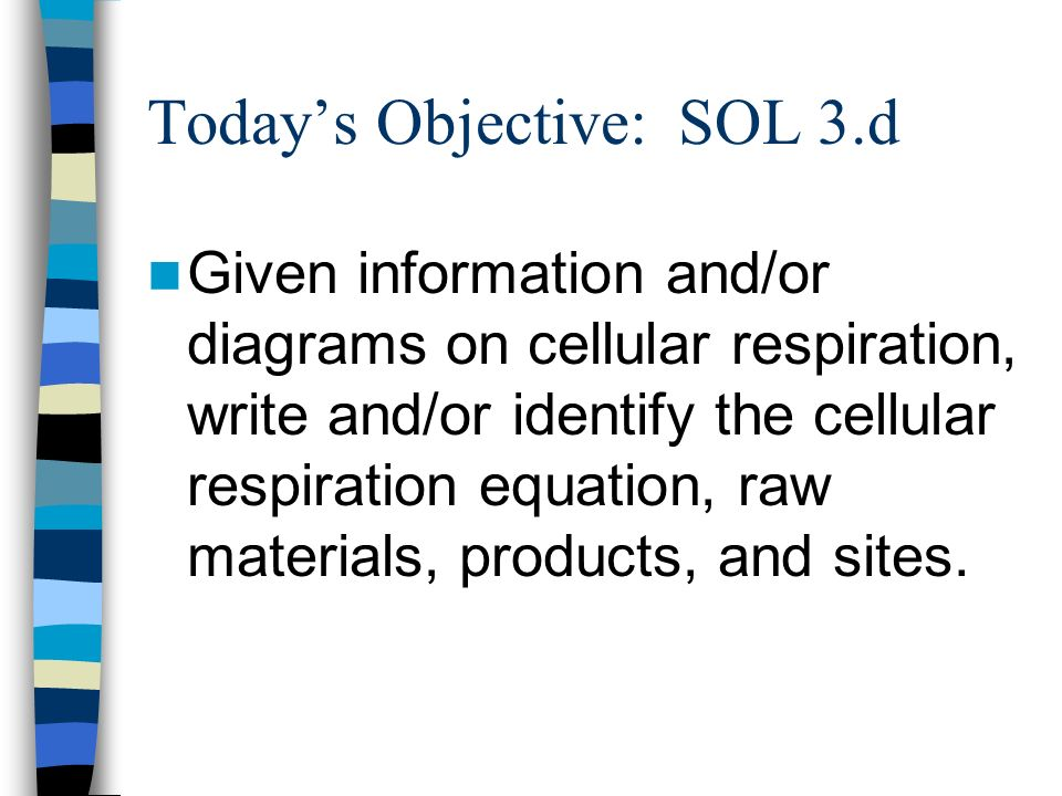 Todays Objective: SOL 3.d Given information and/or diagrams on cellular respiration, write and/or identify the cellular respiration equation, raw mate