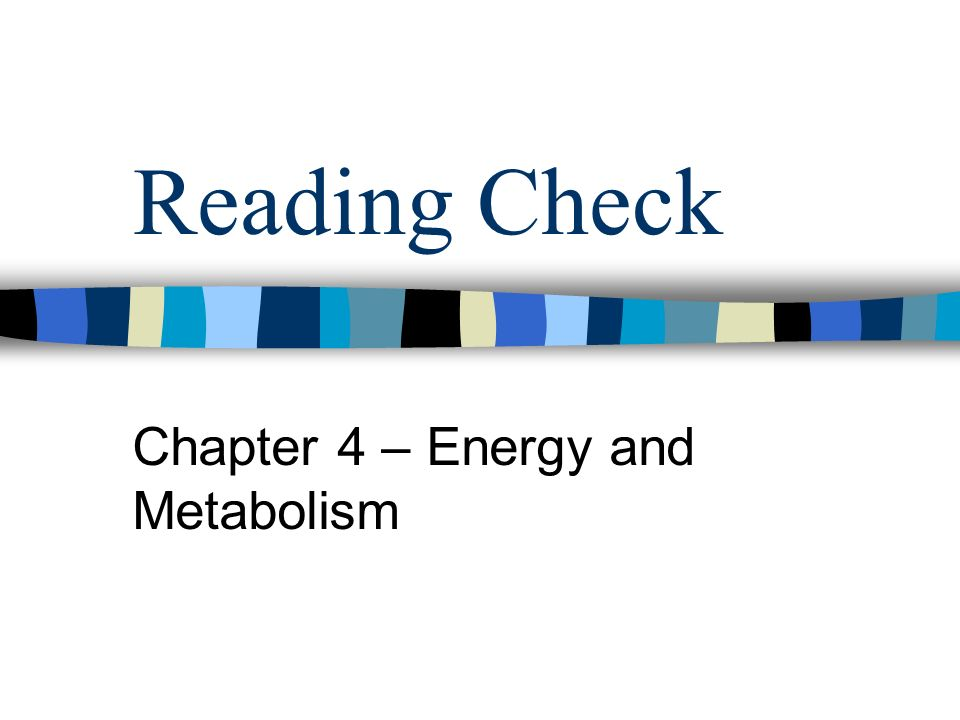 Reading Check Chapter 4 – Energy and Metabolism