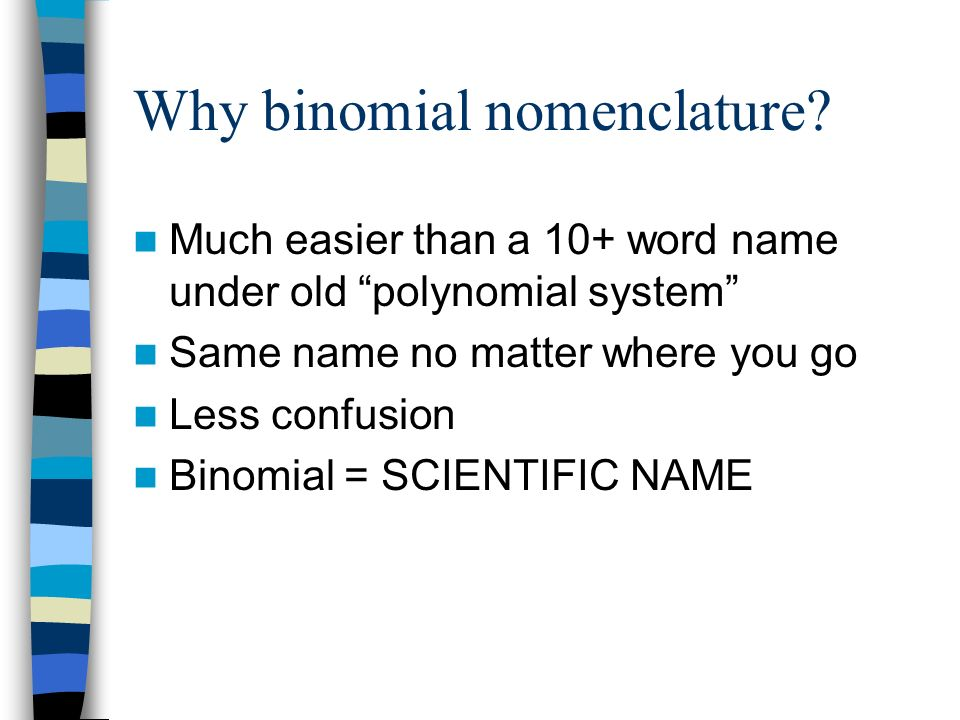 Why binomial nomenclature? Much easier than a 10+ word name under old polynomial system Same name no matter where you go Less confusion Binomial = SCI