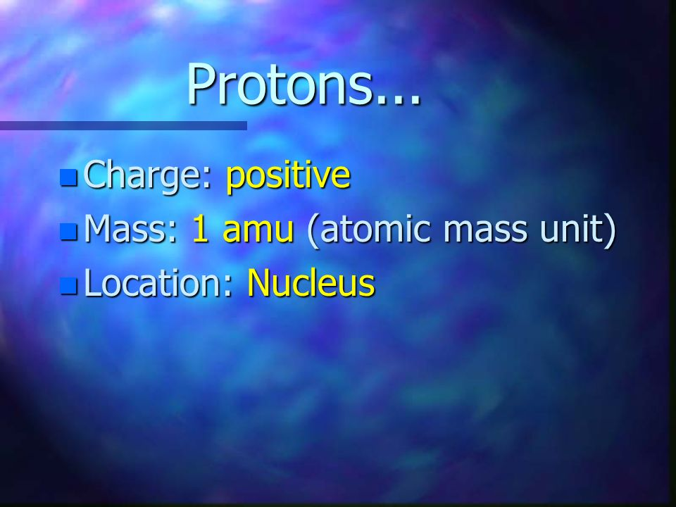 Whats Inside an Atom? n An atom is made up of a team of three players: protons, neutrons, and electrons n They each have a charge, mass, and a locatio