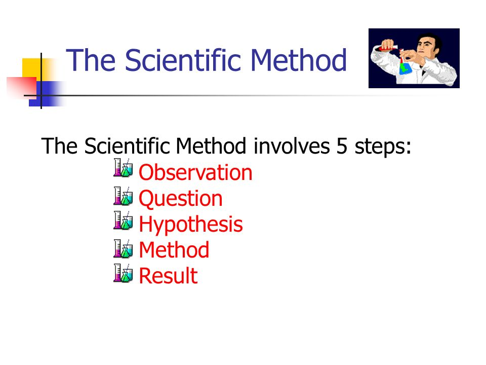 The Scientific Method Observation- You observe something in the material world, using your senses or machines which are basically extensions of those senses.