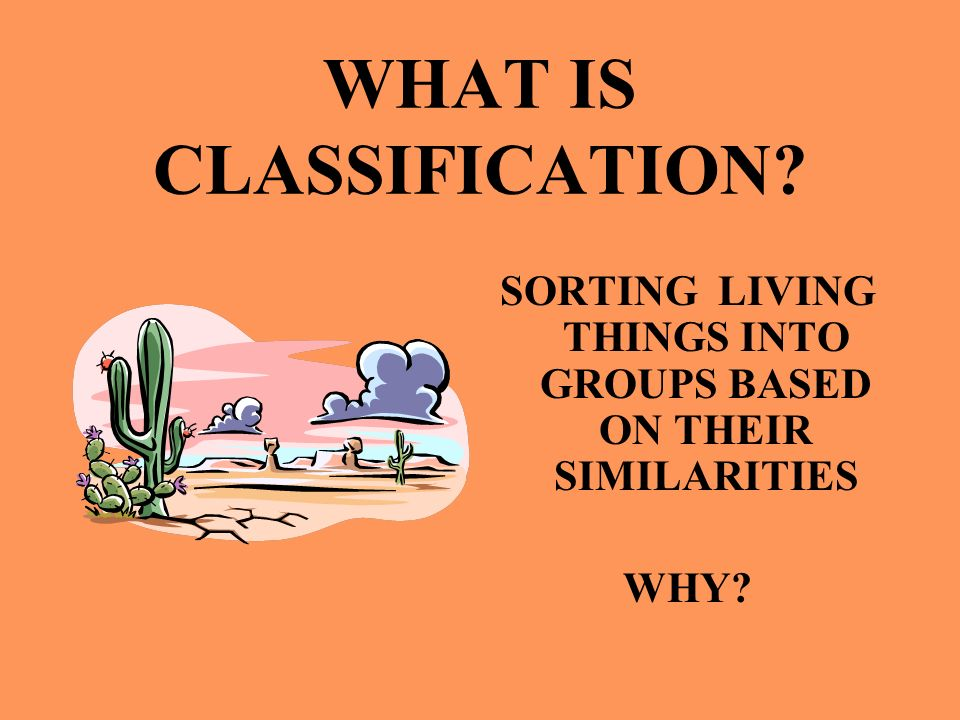 WHAT IS CLASSIFICATION? SORTING LIVING THINGS INTO GROUPS BASED ON THEIR SIMILARITIES WHY?