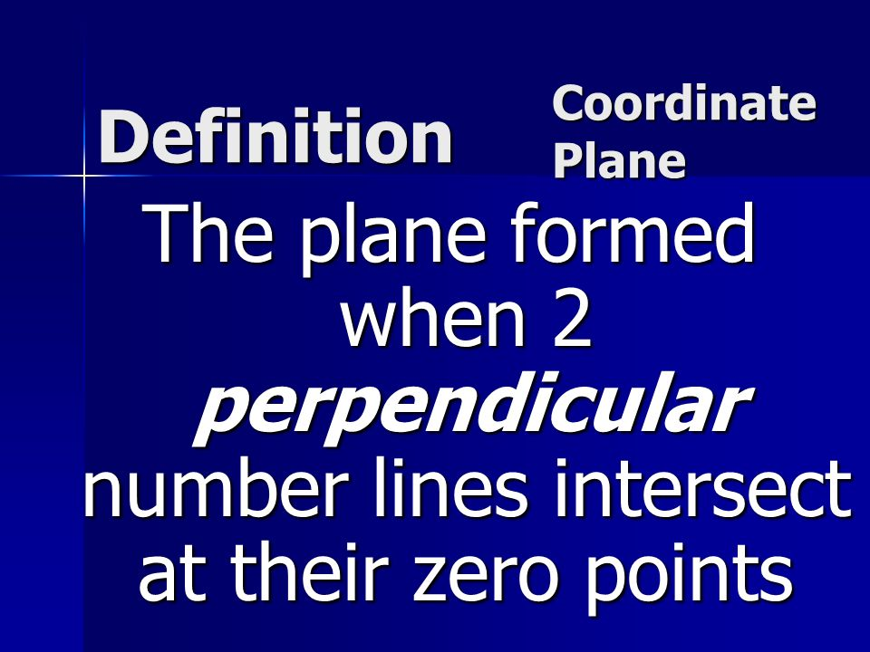 Definition The plane formed when 2 perpendicular number lines intersect at their zero points Coordinate Plane Coordinate Plane