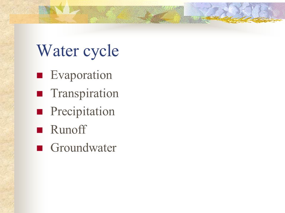 Water cycle Evaporation Transpiration Precipitation Runoff Groundwater