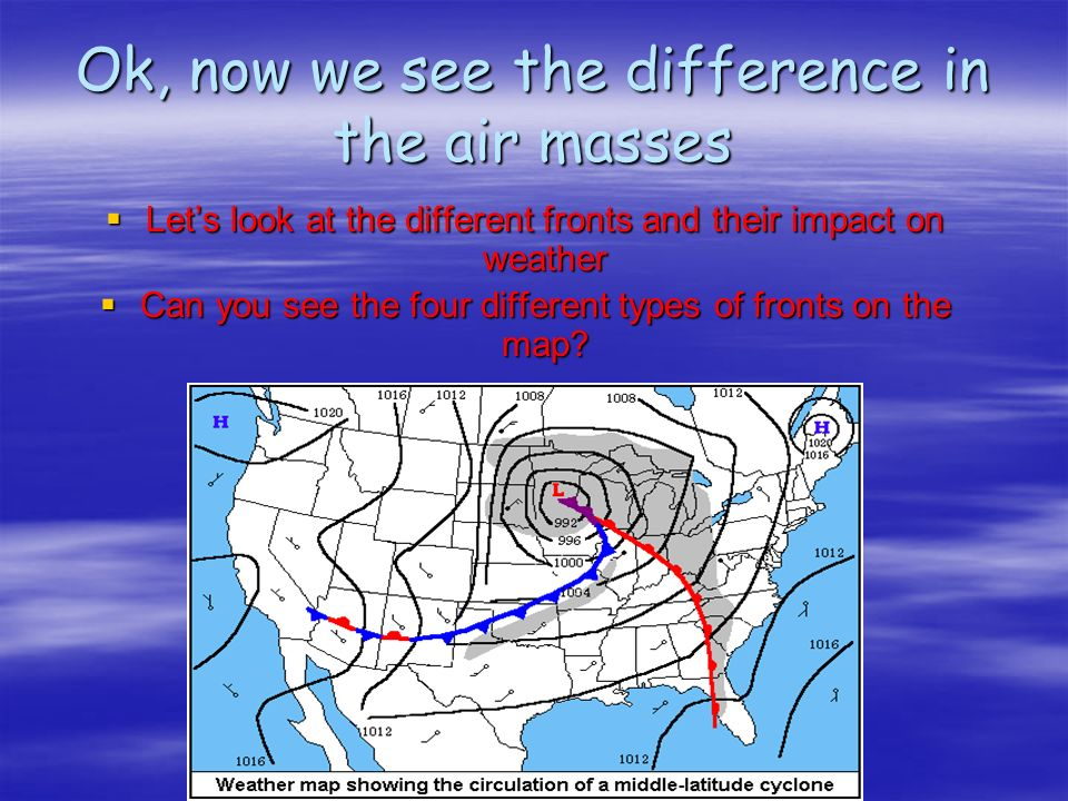 Ok, now we see the difference in the air masses Lets look at the different fronts and their impact on weather Lets look at the different fronts and their impact on weather Can you see the four different types of fronts on the map.