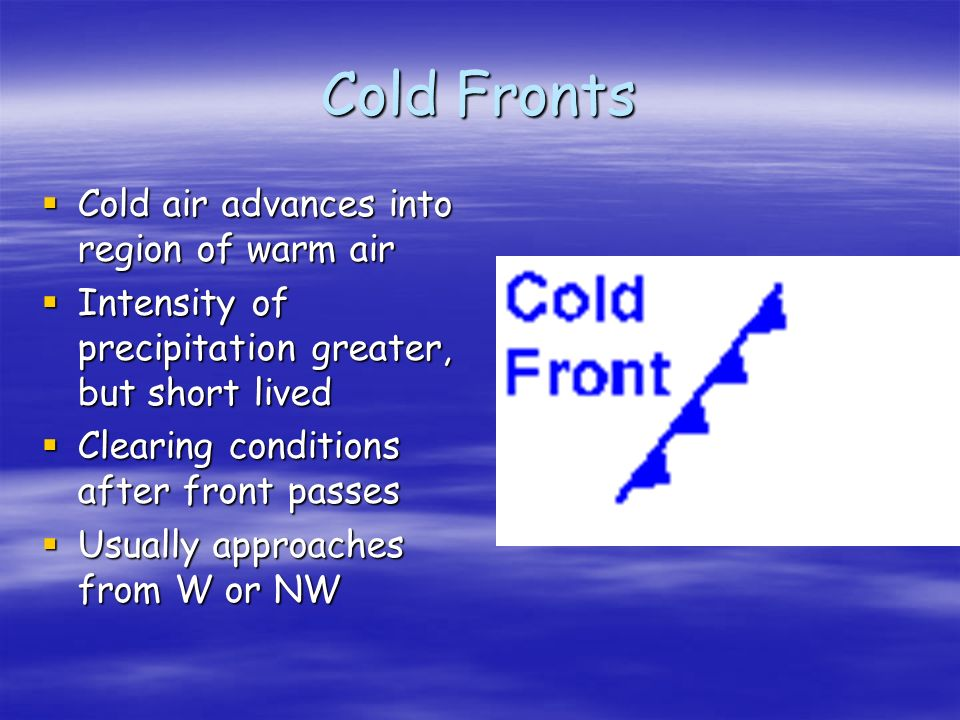 Cold Fronts Cold air advances into region of warm air Cold air advances into region of warm air Intensity of precipitation greater, but short lived Intensity of precipitation greater, but short lived Clearing conditions after front passes Clearing conditions after front passes Usually approaches from W or NW Usually approaches from W or NW