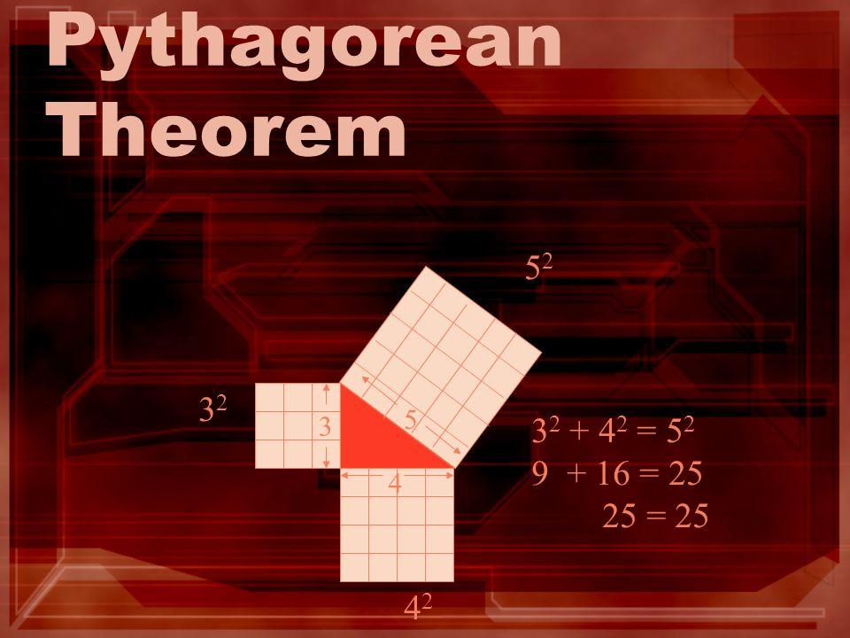 Pythagorean Theorem 3 3232 4242 5252 4 5 3 2 + 4 2 = 5 2 9 + 16 = 25 25 = 25