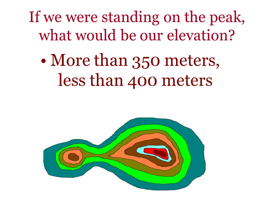If we were standing on the peak, what would be our elevation? More than 350 meters, less than 400 meters
