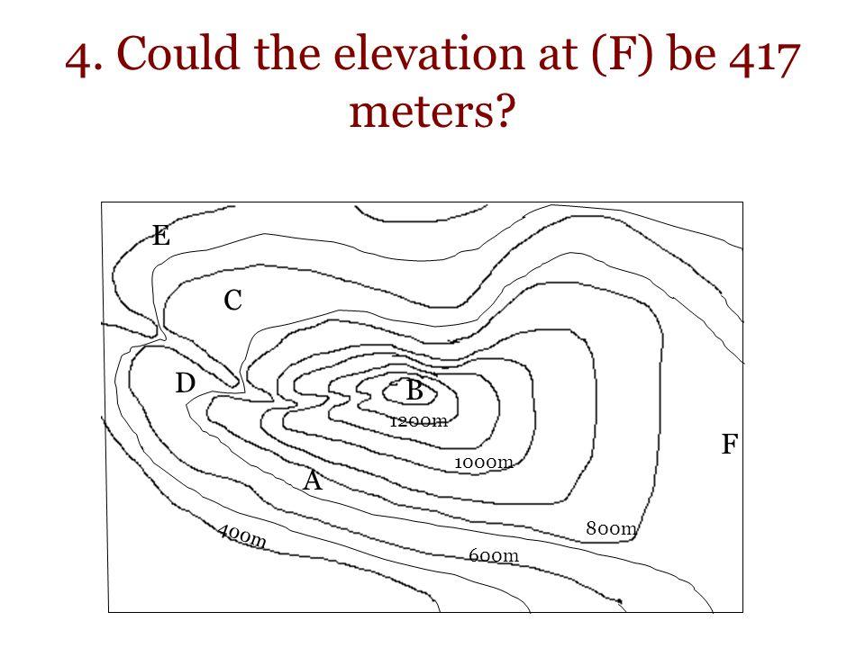 4. Could the elevation at (F) be 417 meters? 400m 800m 1000m 1200m A B C D E F 600m